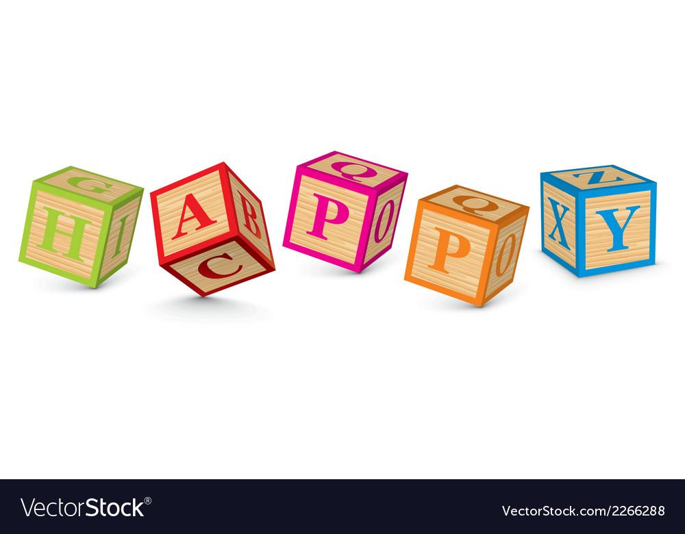 Word happy written with alphabet blocks vector | Price: 1 Credit (USD $1)