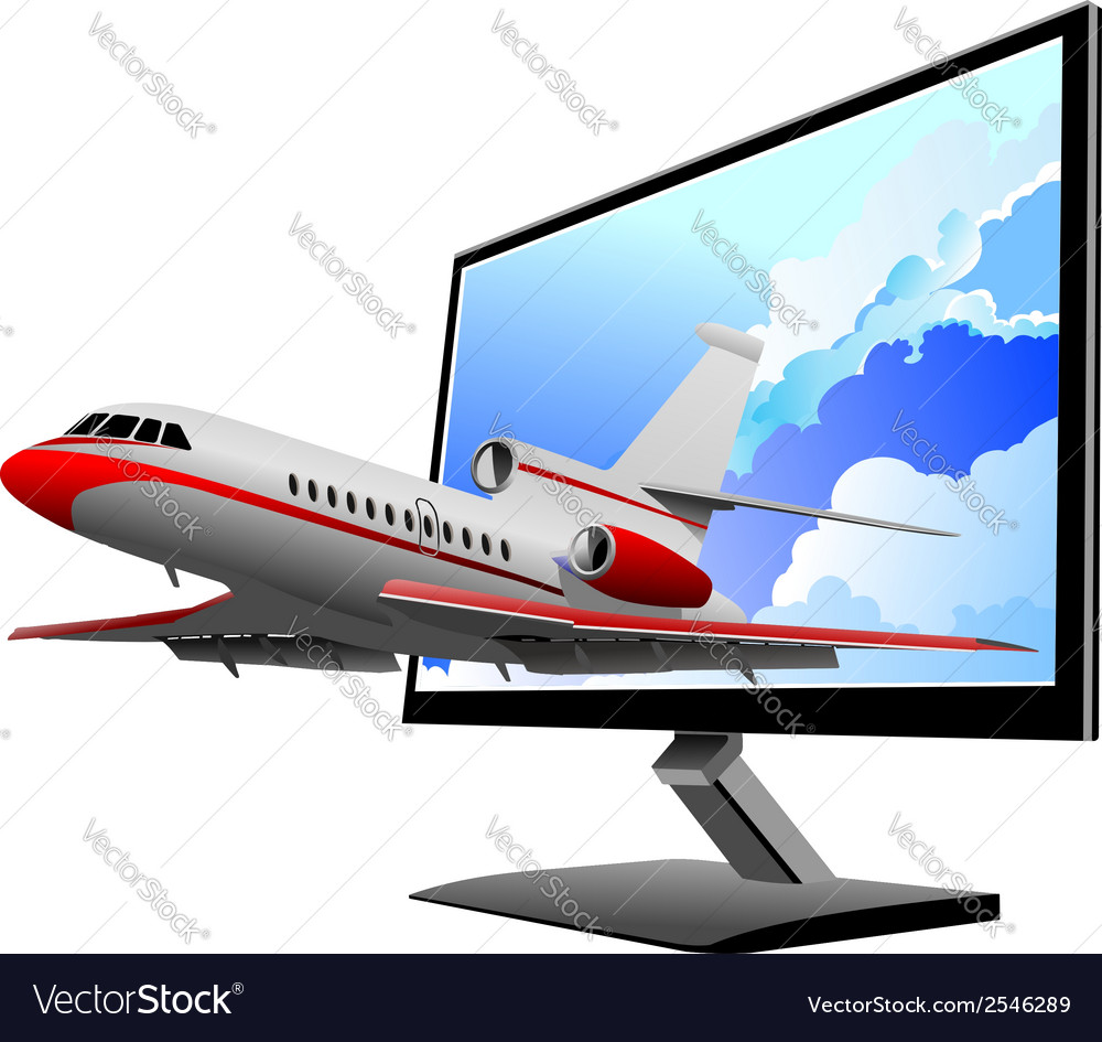 Al 0812 plane with screen 03 vector | Price: 1 Credit (USD $1)