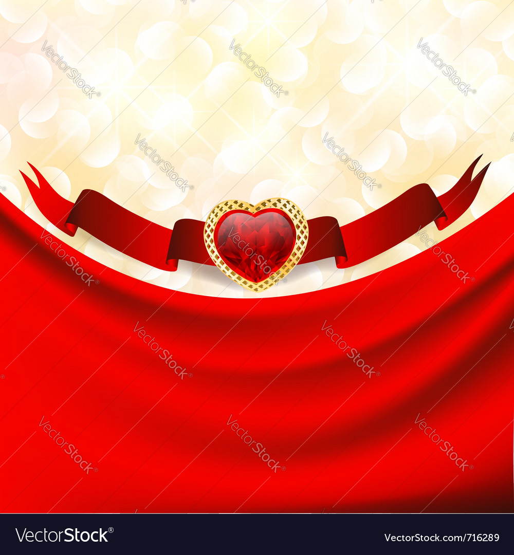 Ruby heart at banner with red drapery vector | Price: 3 Credit (USD $3)