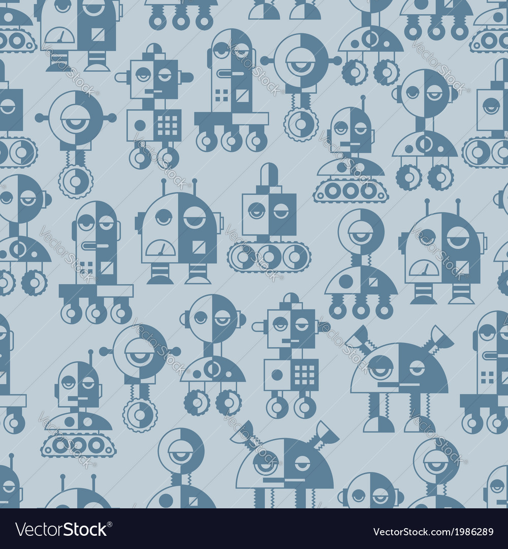 Seamless robots pattern in flat style vector | Price: 1 Credit (USD $1)