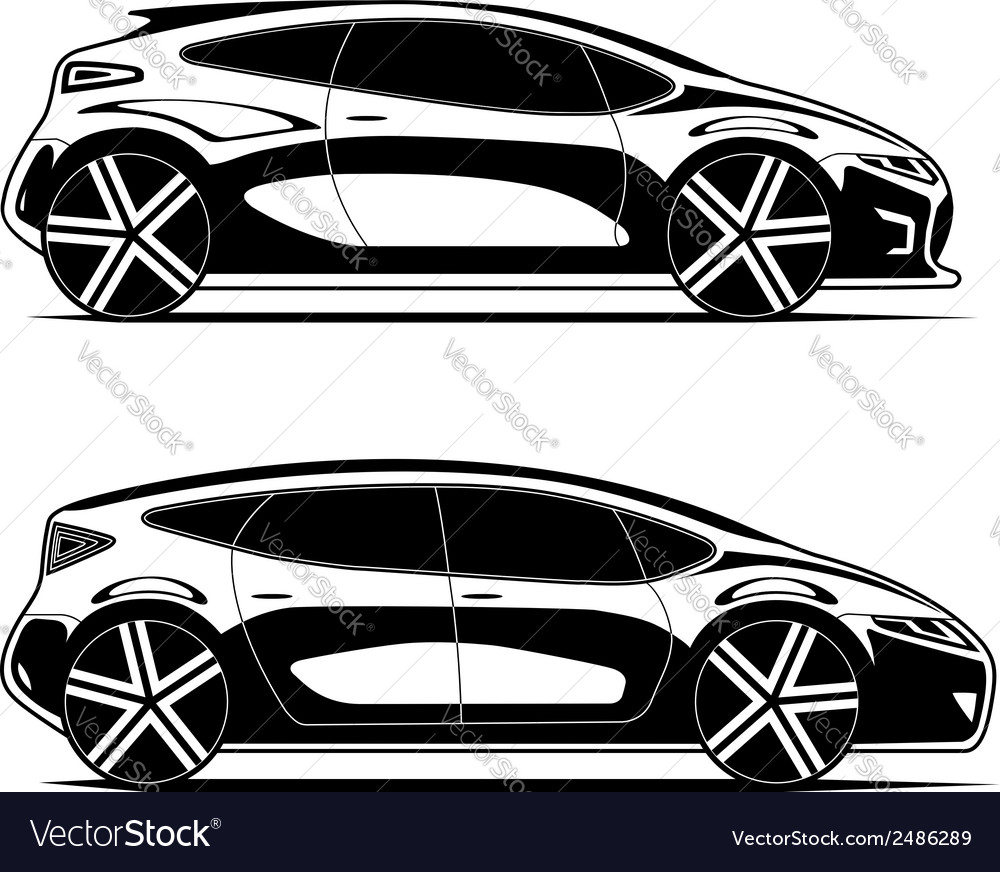 Silhouettes of modern cars isolated on white vector | Price: 1 Credit (USD $1)