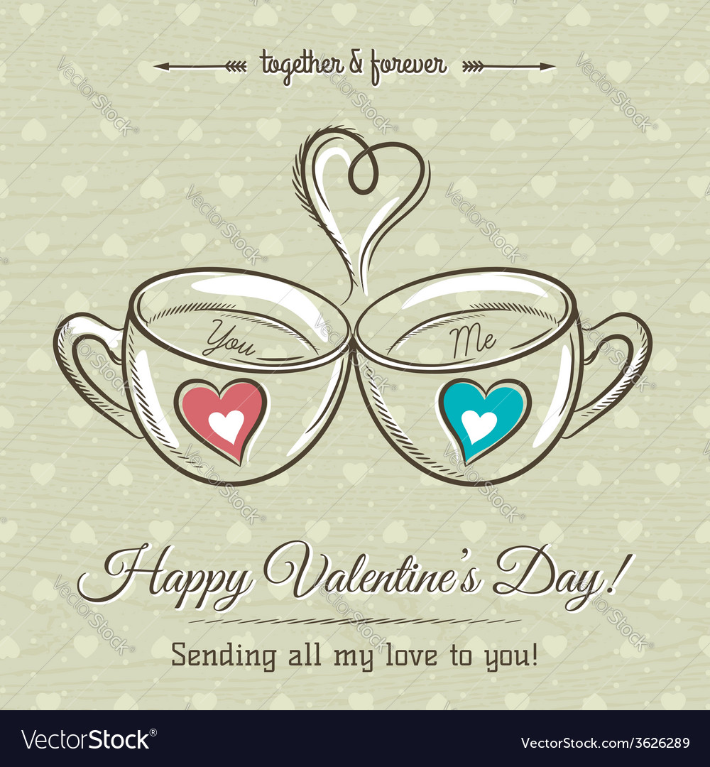 Valentine card with two cup of hot drink vector | Price: 1 Credit (USD $1)