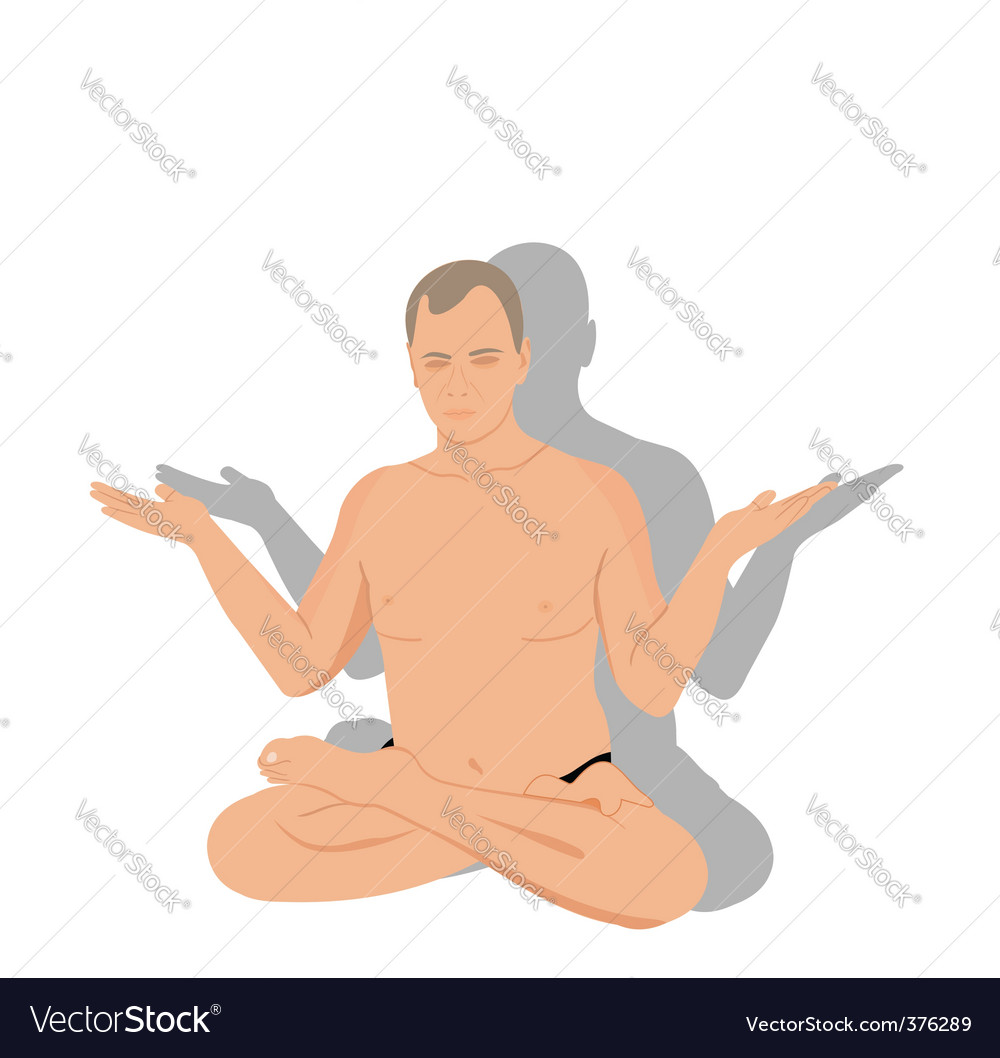Yoga man meditates vector | Price: 1 Credit (USD $1)