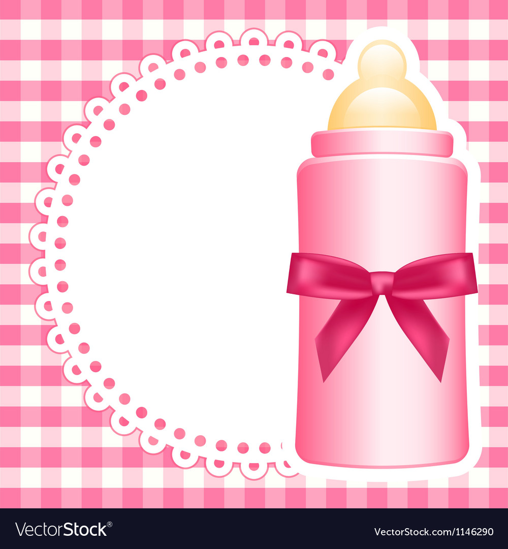 Baby bottle napkin square checkered background vector | Price: 1 Credit (USD $1)