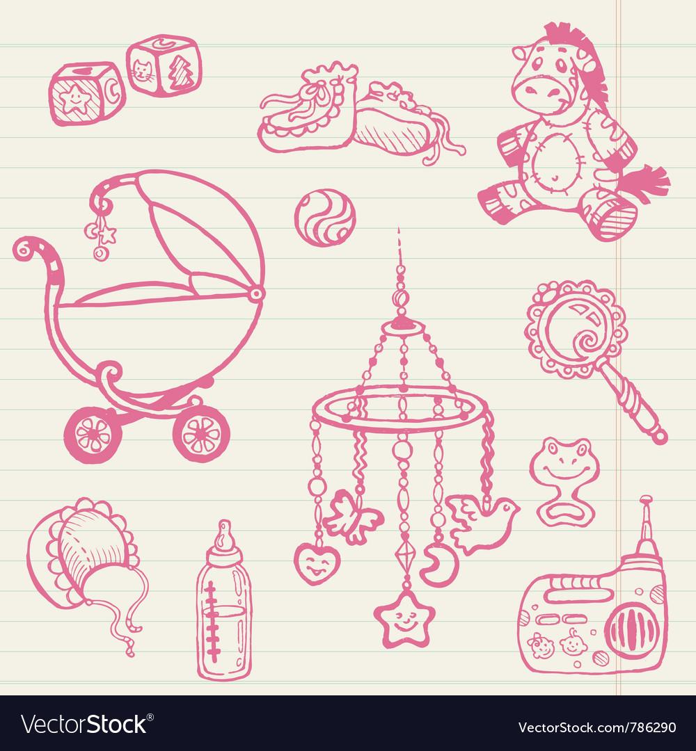 Baby doodles vector | Price: 1 Credit (USD $1)