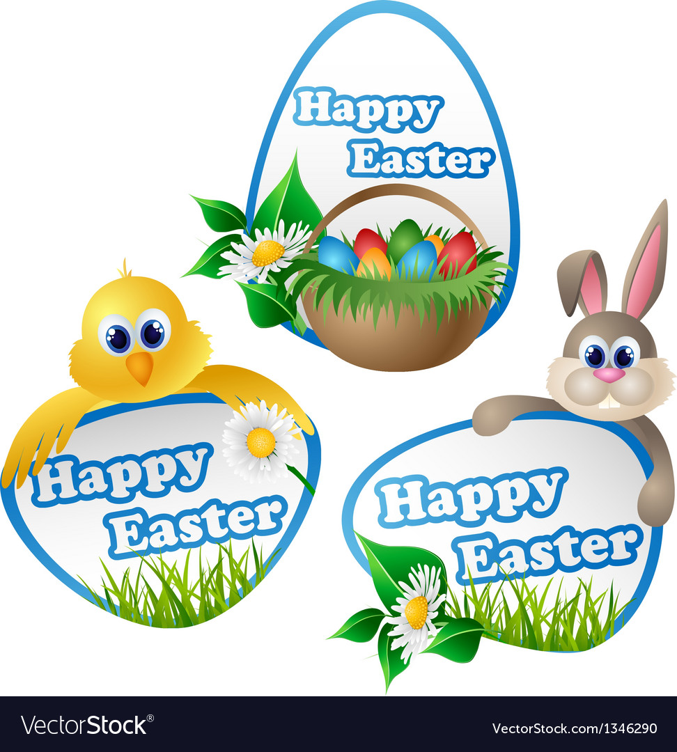 Easter label set with cartoon characters vector | Price: 1 Credit (USD $1)
