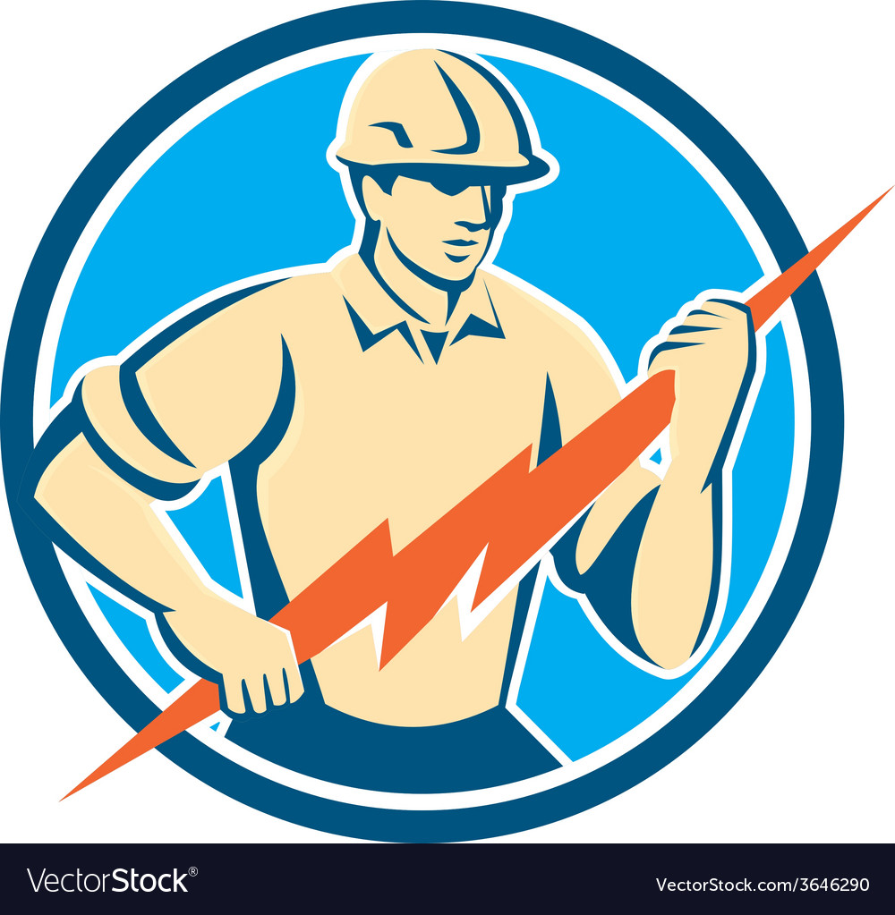 Electrician holding lightning bolt circle retro vector | Price: 1 Credit (USD $1)