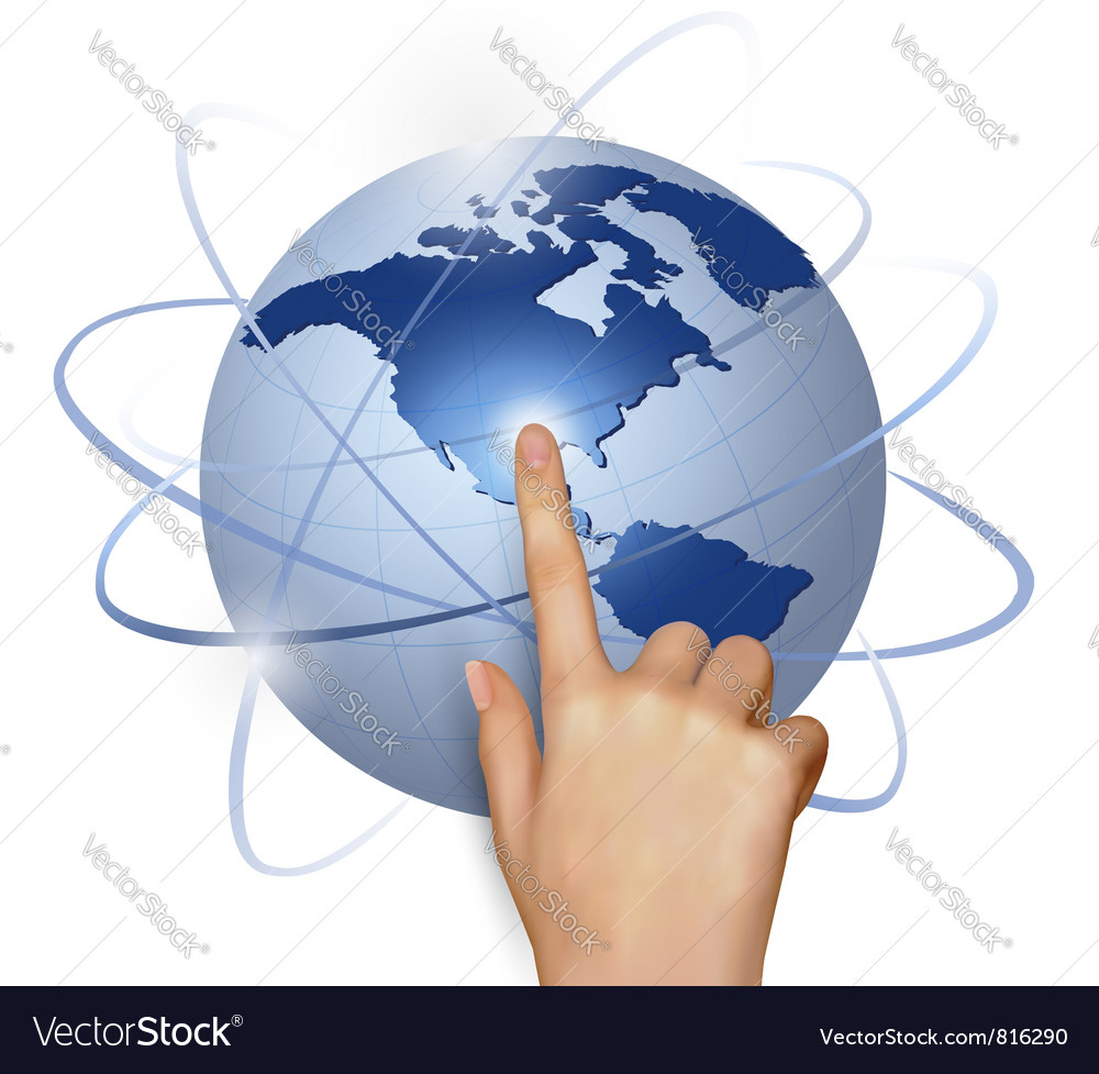 Finger touching globe vector | Price: 1 Credit (USD $1)