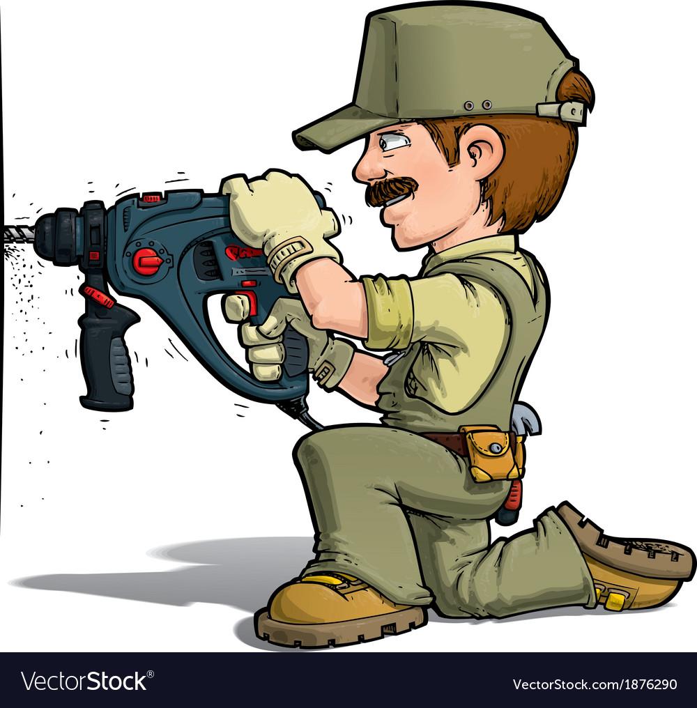 Handyman drilling khaki vector   Price: 3 Credit (USD $3)