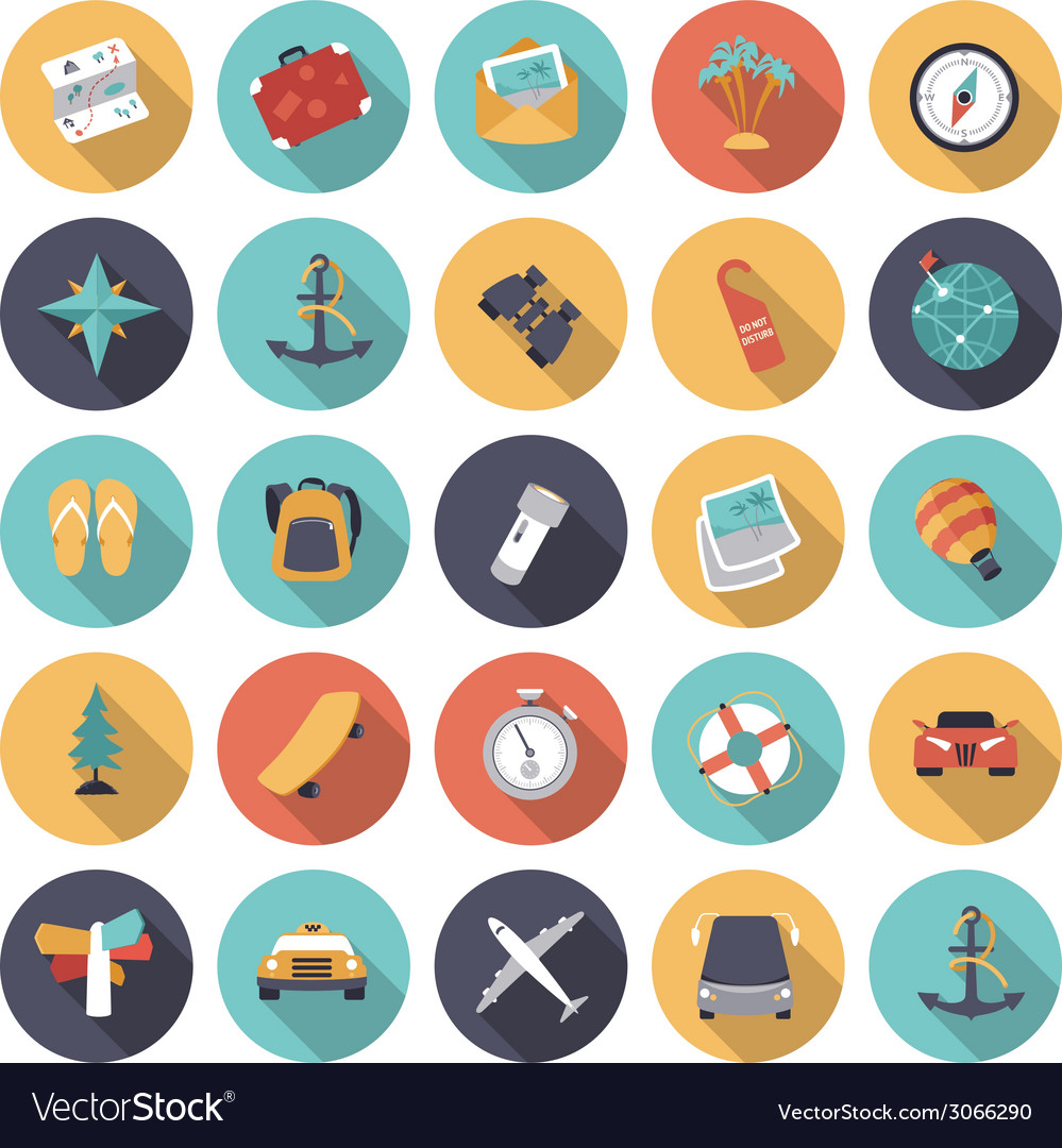 Icons flat colors travel vector | Price: 1 Credit (USD $1)