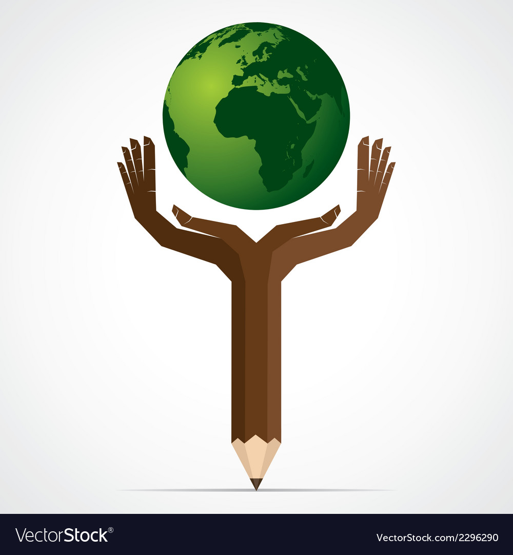 Pencil hand save the world stock vector | Price: 1 Credit (USD $1)