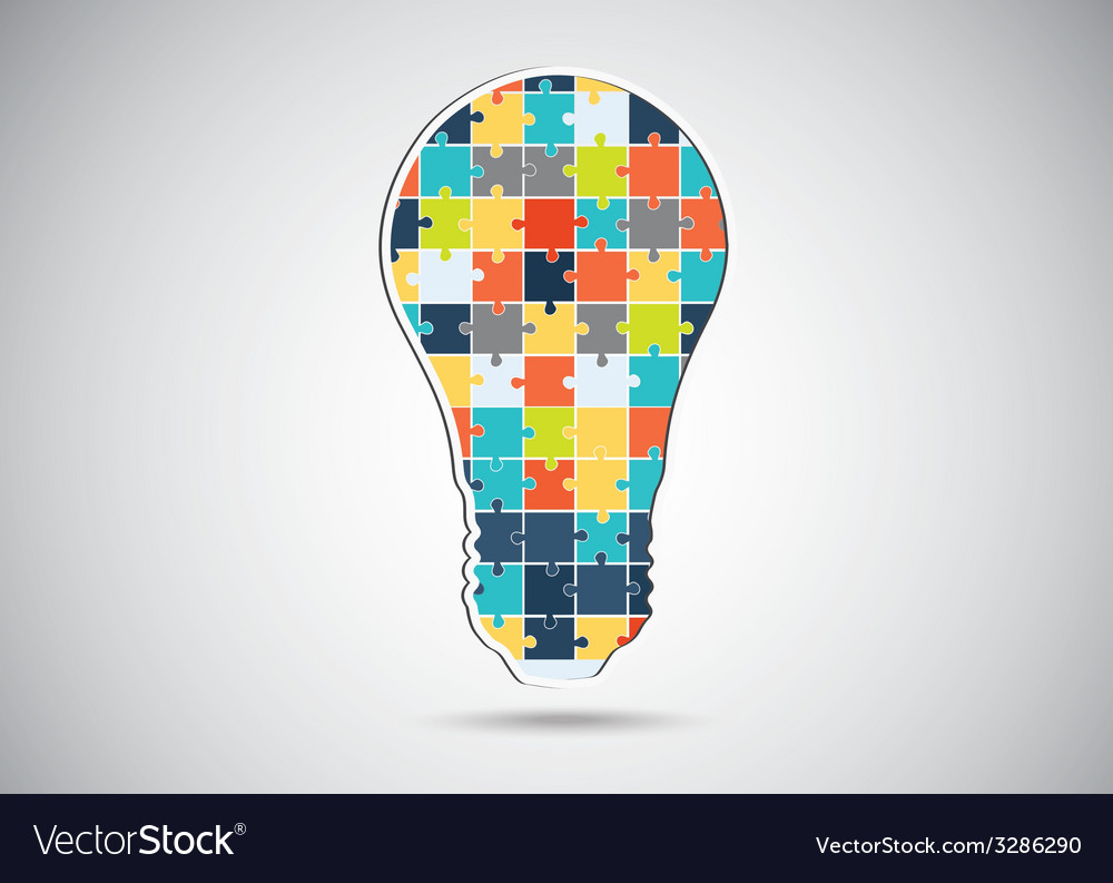 Puzzle piece light idea bulb vector | Price: 1 Credit (USD $1)