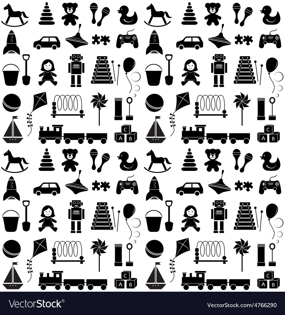 Toys icons seamless pattern vector | Price: 1 Credit (USD $1)