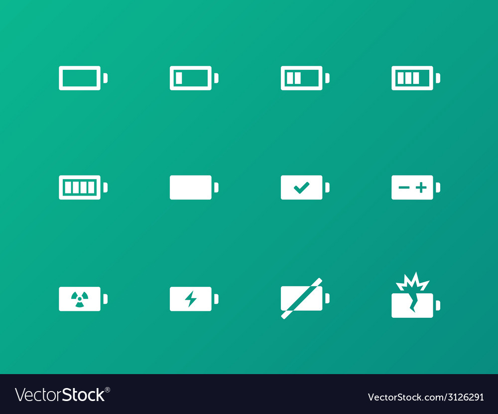 Battery icons on green background vector | Price: 1 Credit (USD $1)