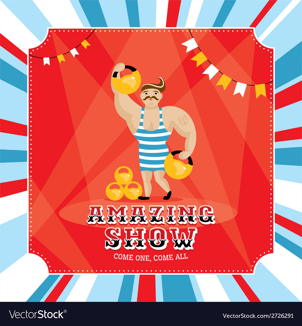 Circus card with strongman vector   Price: 1 Credit (USD $1)