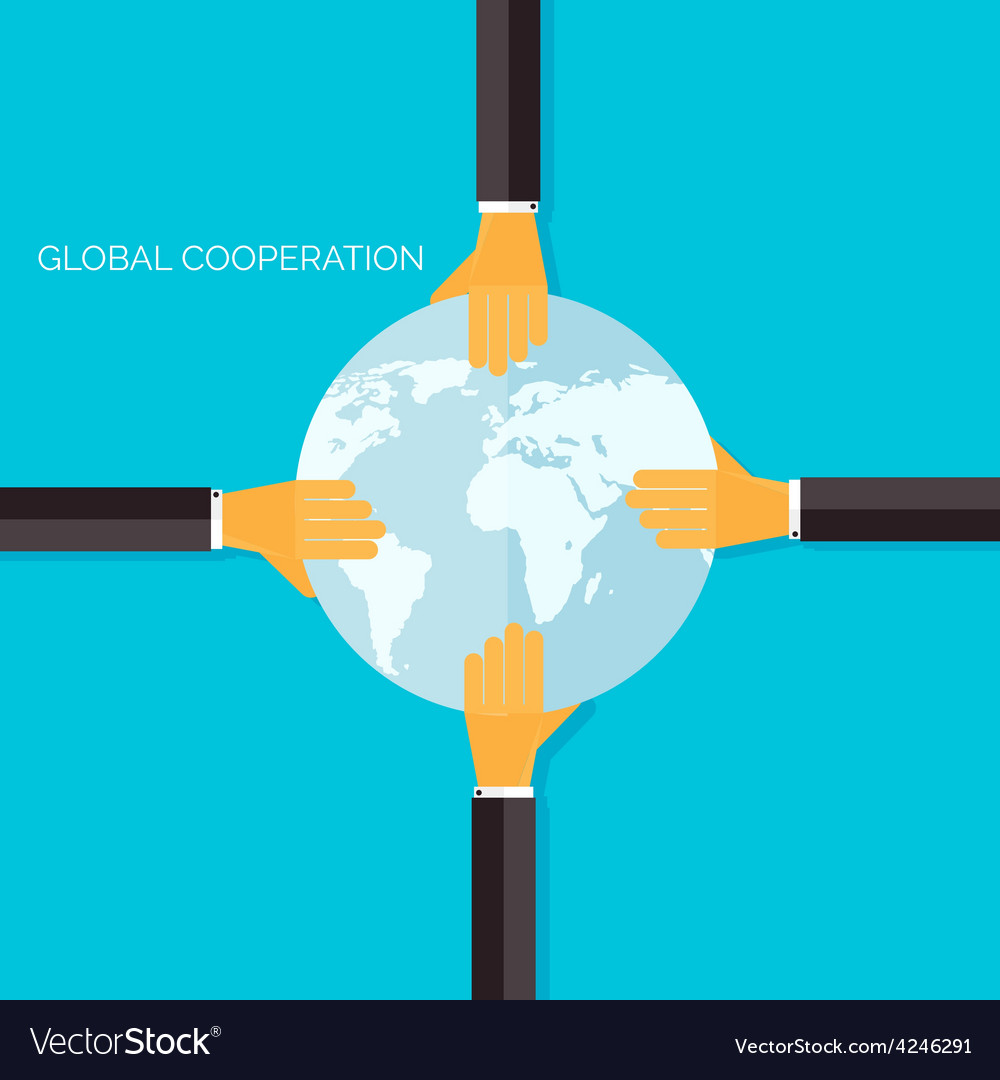 Flat background with handsglobal cooperation and vector | Price: 1 Credit (USD $1)