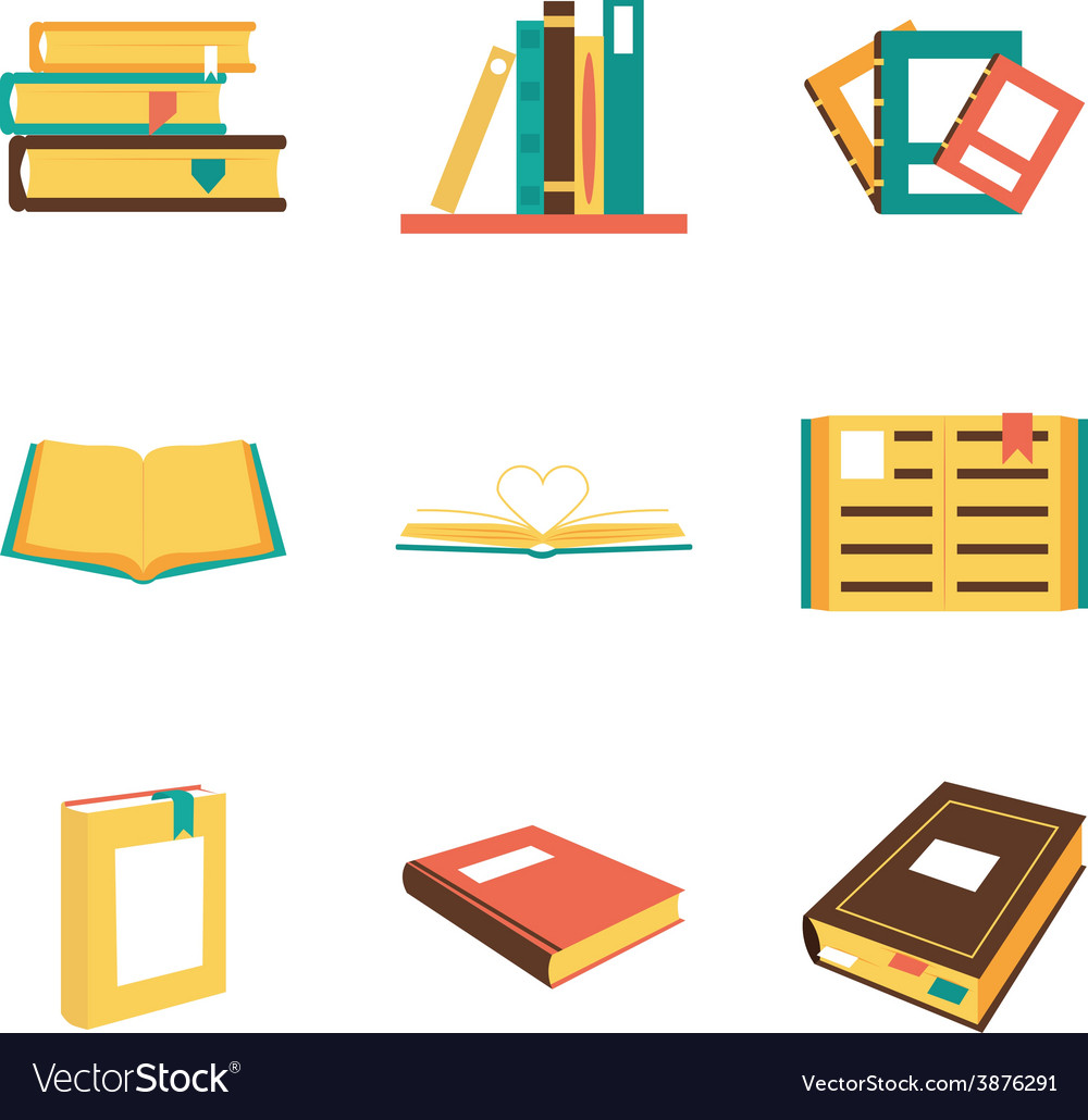 Flat isometric book icons symbols logos isolated vector | Price: 1 Credit (USD $1)