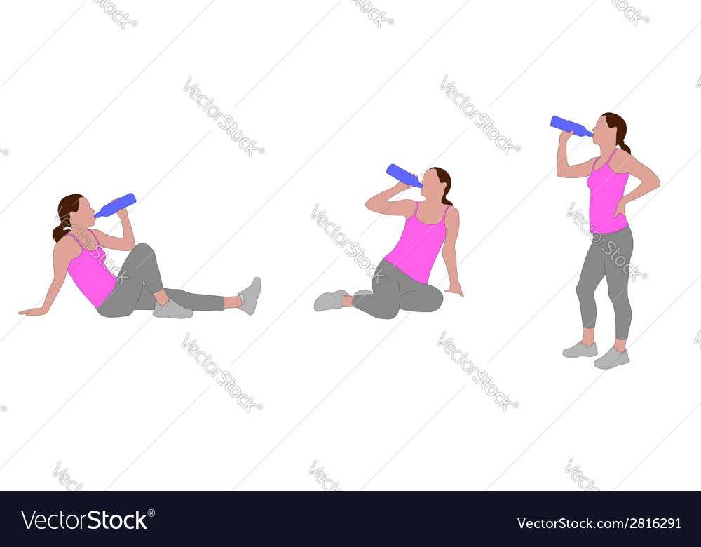 Girl drinking water vector   Price: 1 Credit (USD $1)