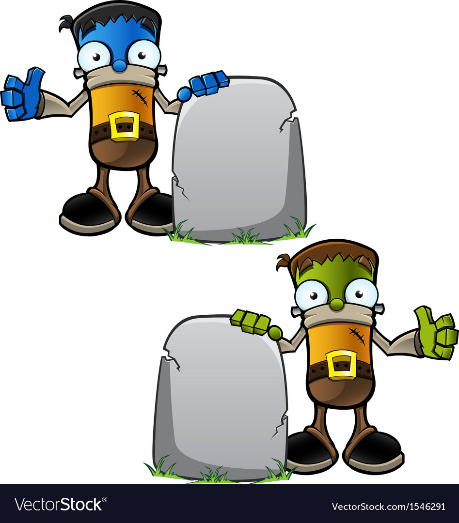 Halloween monster with gravestone vector | Price: 1 Credit (USD $1)