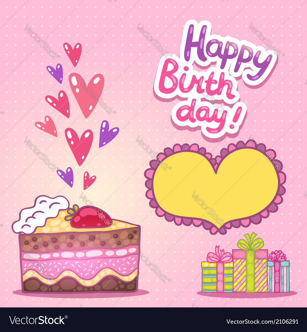 Happy birthday card with strawberry cake vector | Price: 1 Credit (USD $1)