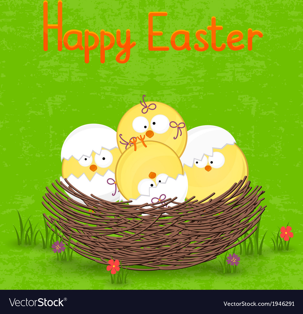 Happy easter card template basket with eggs vector | Price: 1 Credit (USD $1)