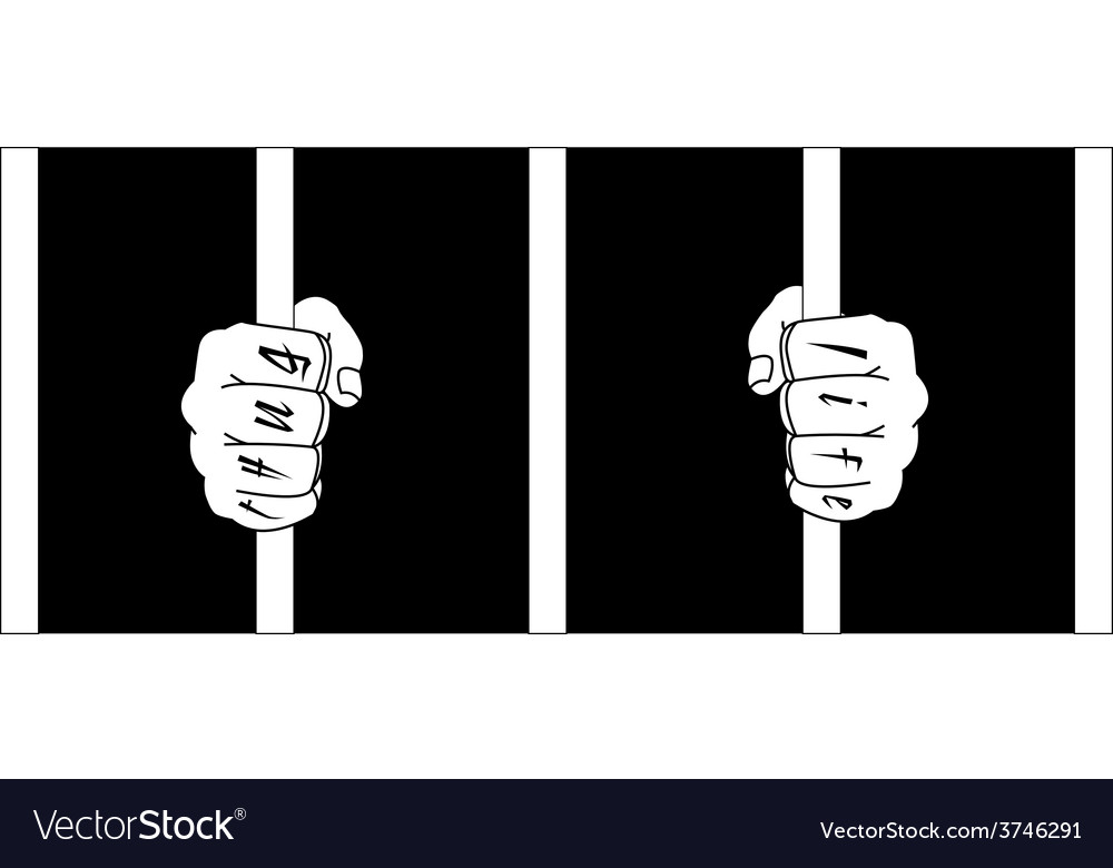 Male hands with thug life tattoo holding prison vector | Price: 1 Credit (USD $1)