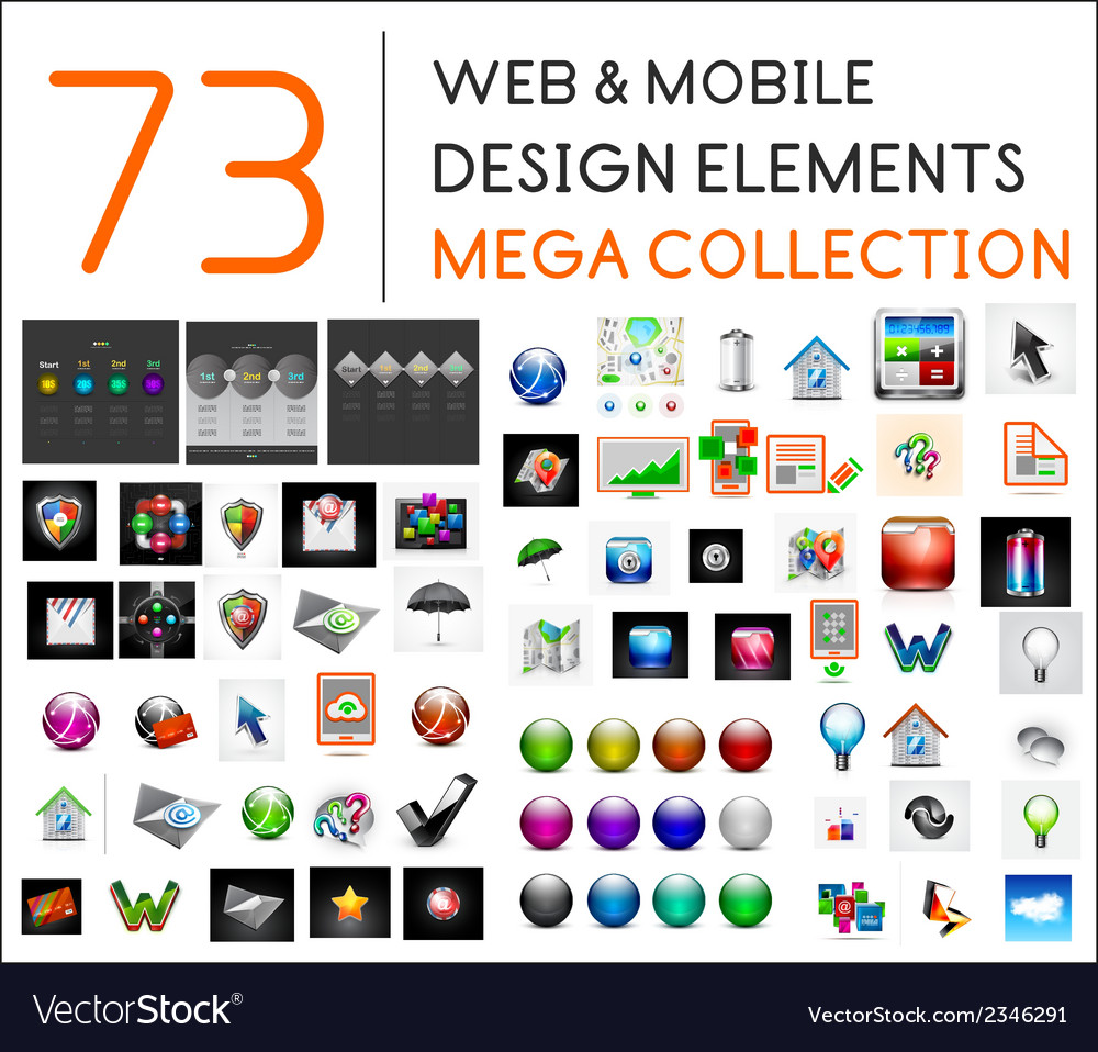 Mega collection of web mobile design elements vector | Price: 1 Credit (USD $1)