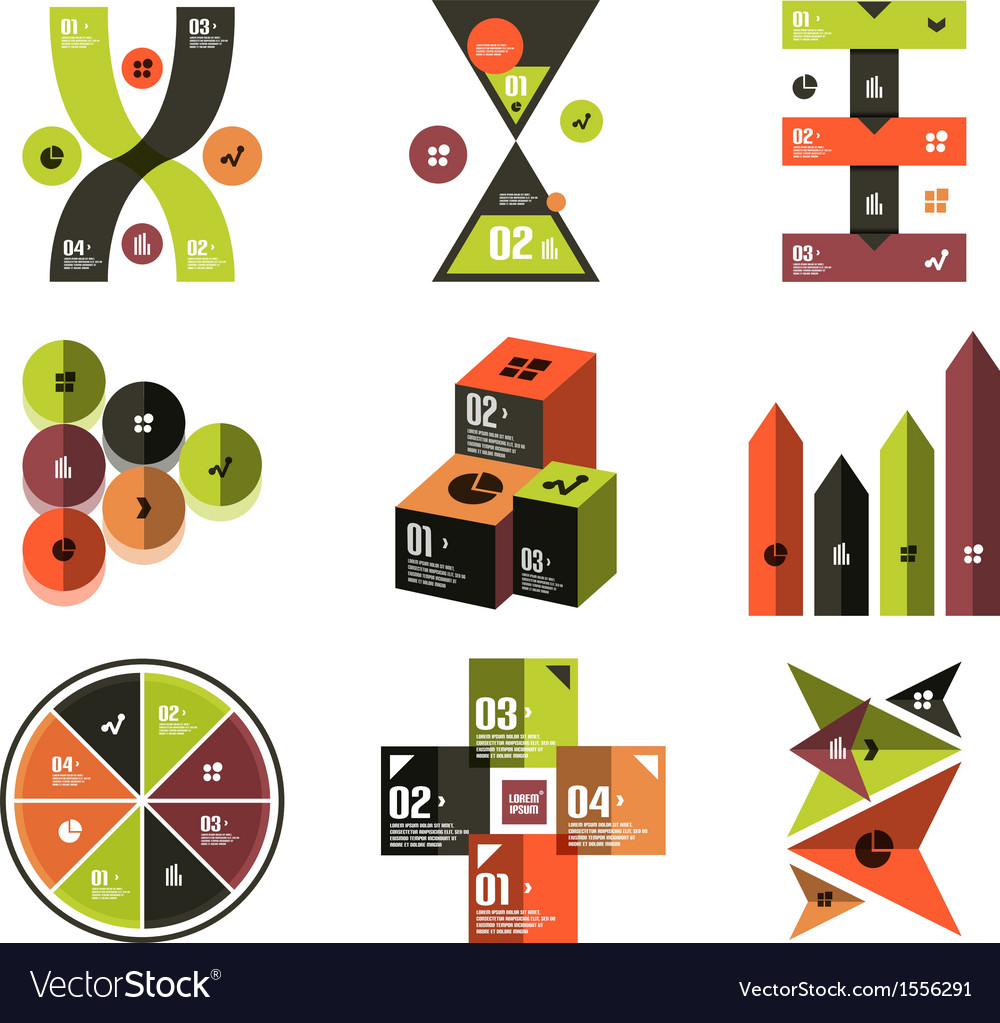 Modern infographic templates and elements set vector | Price: 1 Credit (USD $1)