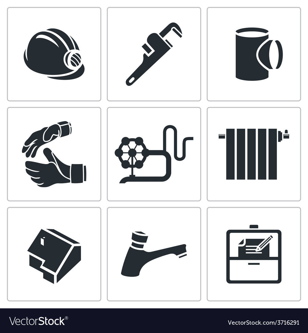 Plumber profession icons set vector | Price: 1 Credit (USD $1)