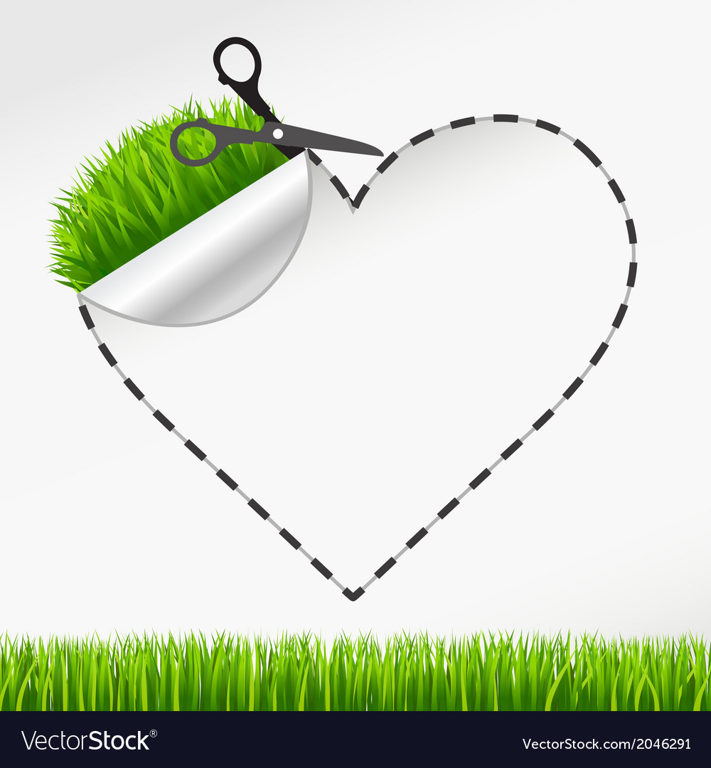 Scissors cut heart sticker green grass vector | Price: 1 Credit (USD $1)