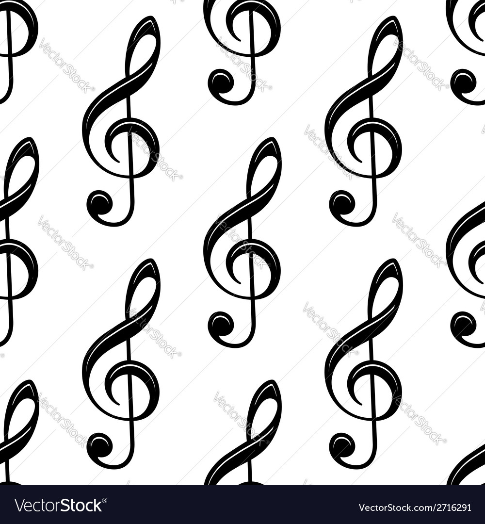 Seamless musical treble clef pattern vector | Price: 1 Credit (USD $1)