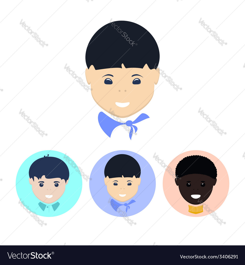 Set of icons with faces of boys vector   Price: 1 Credit (USD $1)