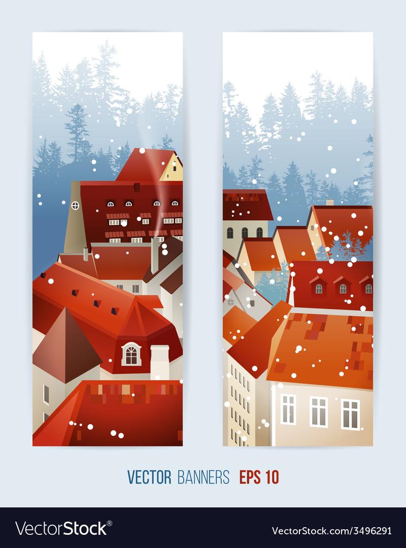 Winter banners with city landscape vector   Price: 1 Credit (USD $1)