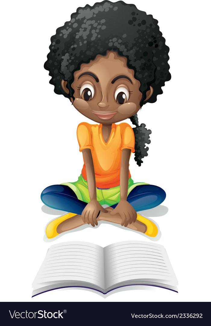A black girl reading vector | Price: 1 Credit (USD $1)