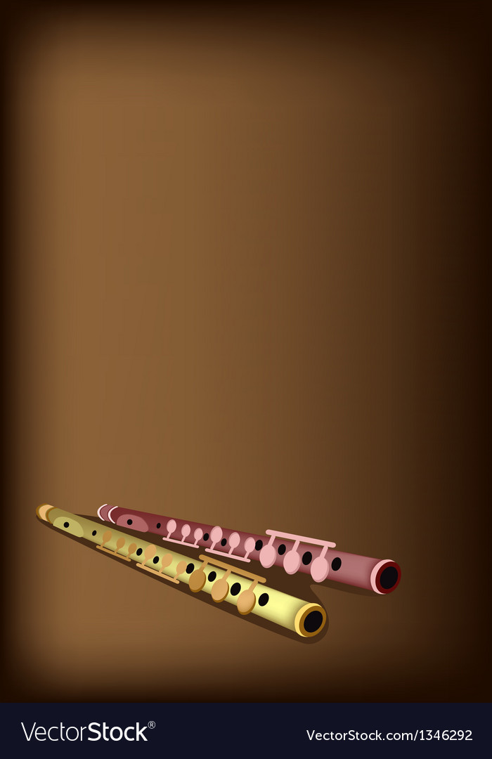 A musical flute on dark brown background vector | Price: 1 Credit (USD $1)