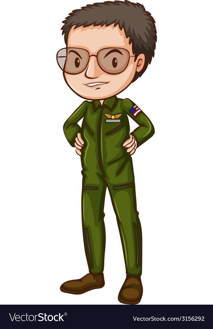 A simple pilot in green uniform vector | Price: 1 Credit (USD $1)