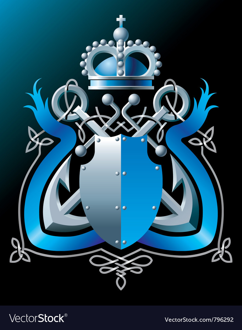 Anchors crown and blue ribbon vector | Price: 1 Credit (USD $1)