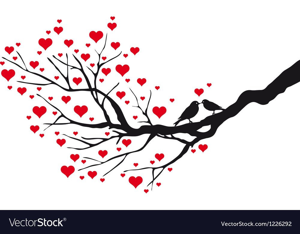 Birds in love kissing on a heart tree vector