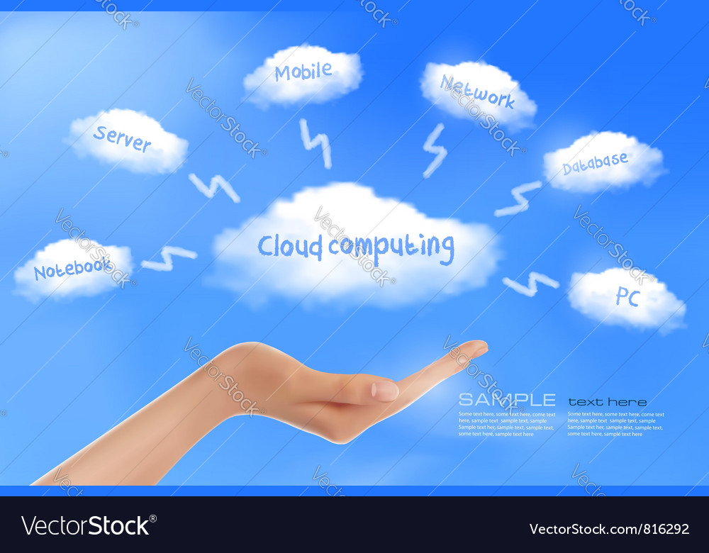 Cloud computing background with hand vector | Price: 3 Credit (USD $3)