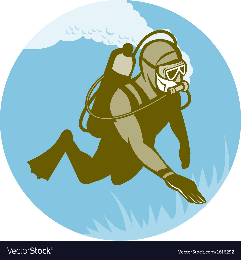 Frogman scuba diver diving vector | Price: 1 Credit (USD $1)
