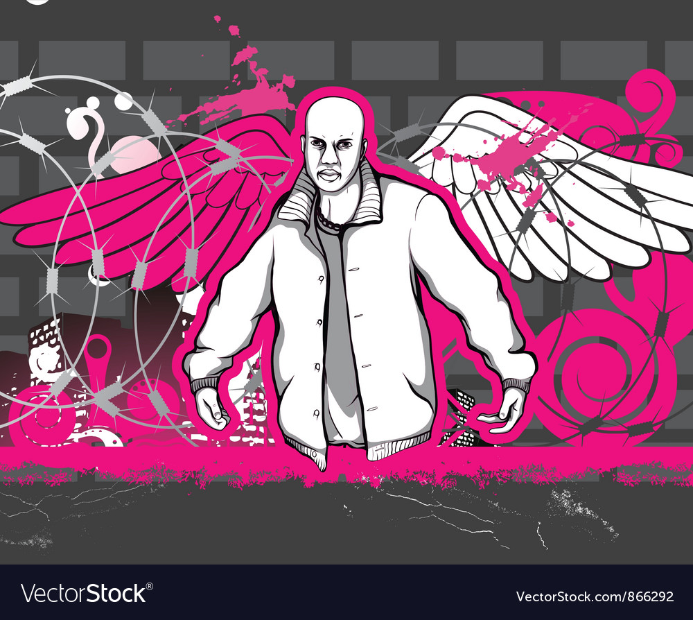 Gangster with grunge background vector | Price: 1 Credit (USD $1)