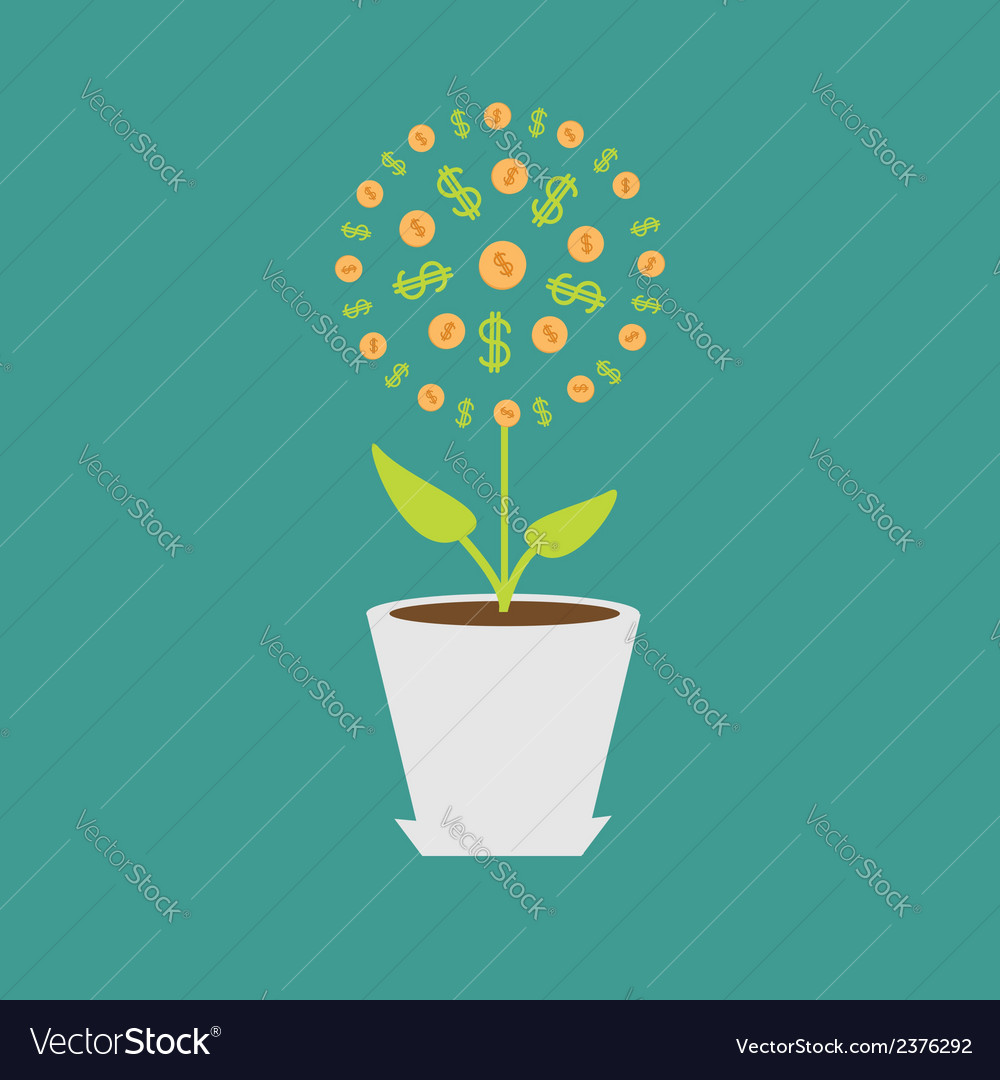 Money tree with coins and dollar sign in the pot vector | Price: 1 Credit (USD $1)