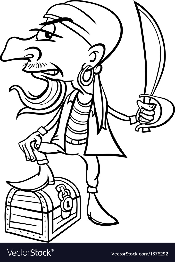 Pirate with treasure for coloring book vector | Price: 1 Credit (USD $1)