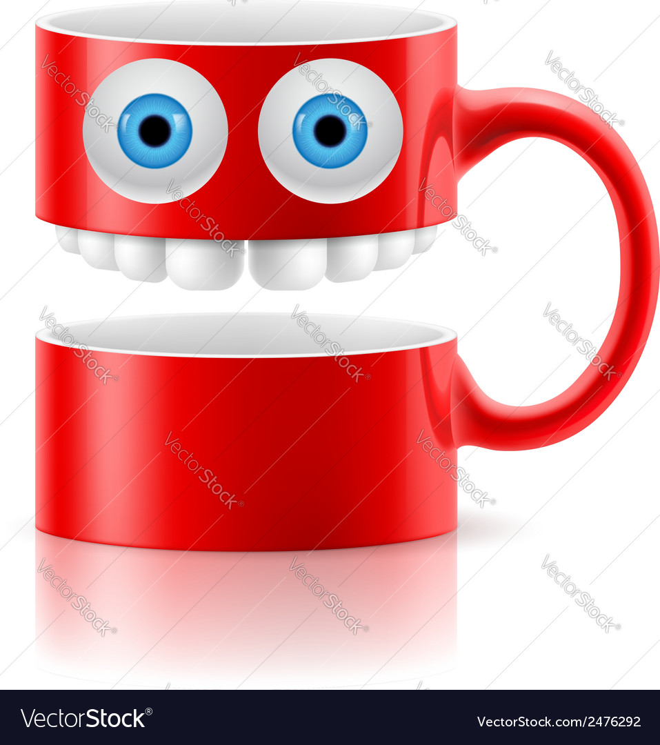 Red mug of two parts with two eyes and teeth vector | Price: 1 Credit (USD $1)