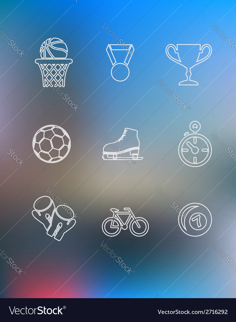 Sport icons set in outline style vector | Price: 1 Credit (USD $1)
