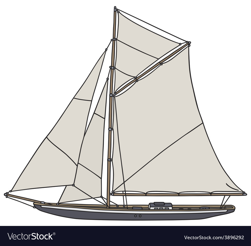 Vintage yacht vector | Price: 1 Credit (USD $1)