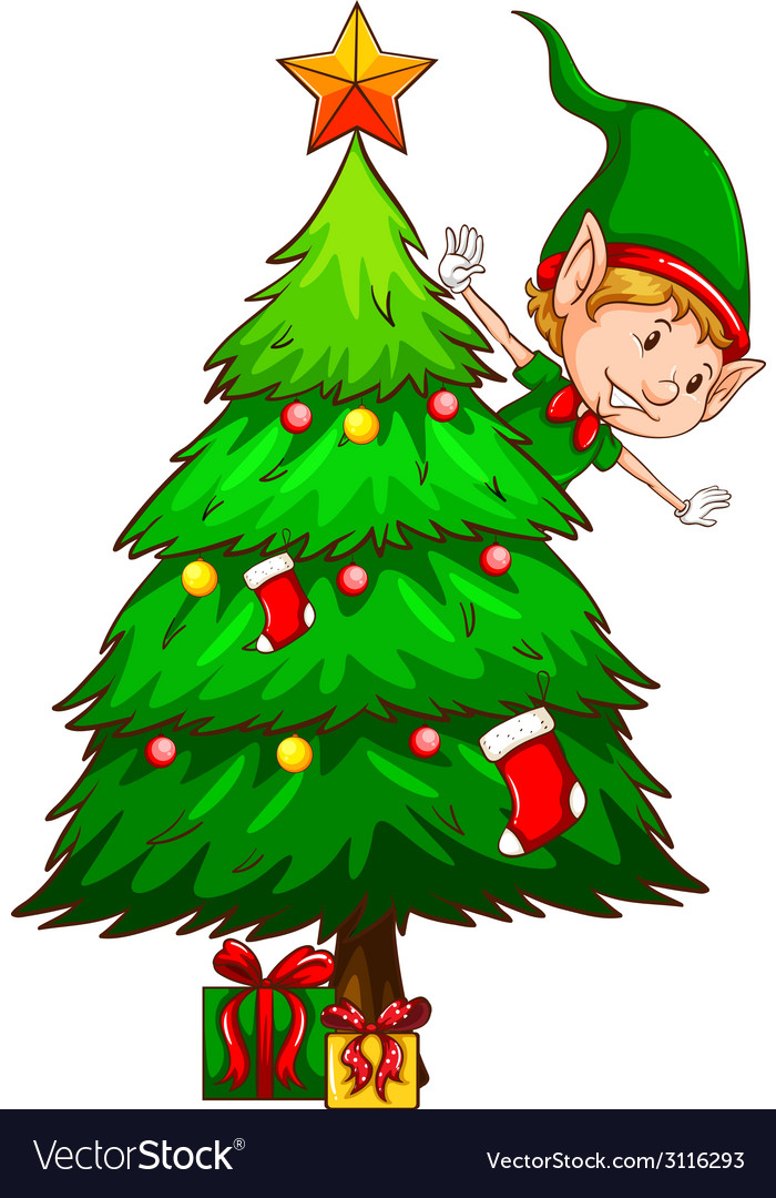 A coloured sketch of a christmas tree vector | Price: 1 Credit (USD $1)