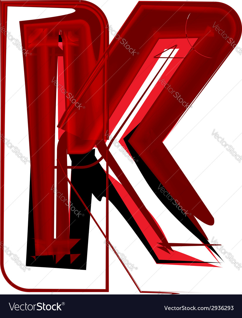 Artistic font letter k vector | Price: 1 Credit (USD $1)