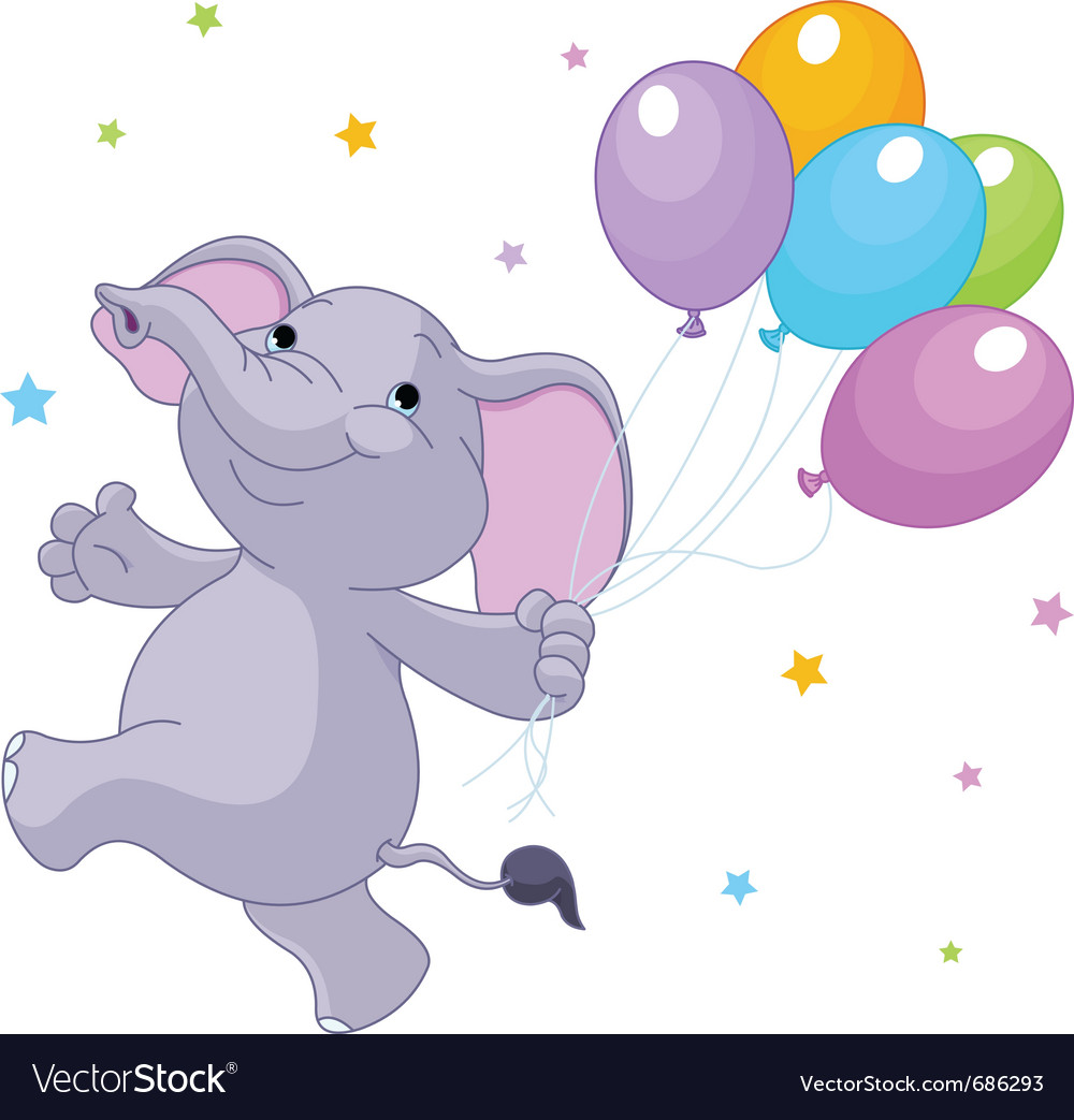 Baby elephant with balloons vector | Price: 1 Credit (USD $1)