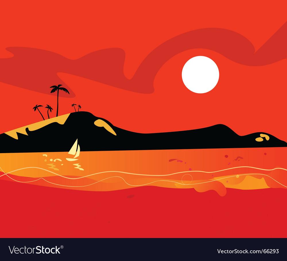 Beach sunset vector | Price: 1 Credit (USD $1)